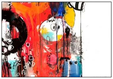 """watercolor, pastel, acrylic, India ink on paper   22""""h x 30""""w   SOLD"""