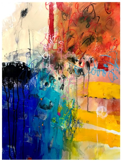 """watercolor, pastel, acrylic, India ink, crayon on paper   30""""h x 22""""w   $795"""