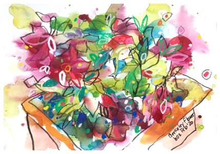 """watercolor, pen, pastel pencil on paper   6"""" x 8""""   $60"""