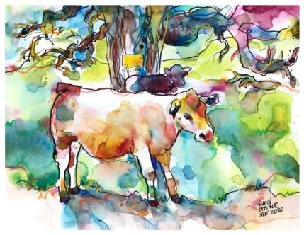 "watercolor, pen on paper   9"" x 12""   $140"