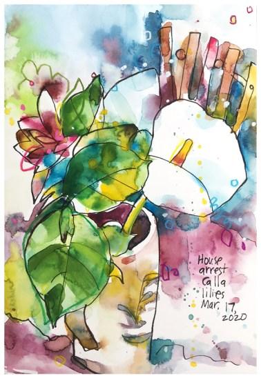 "watercolor, pen, pastel pencil on paper   10"" x 7""   SOLD"