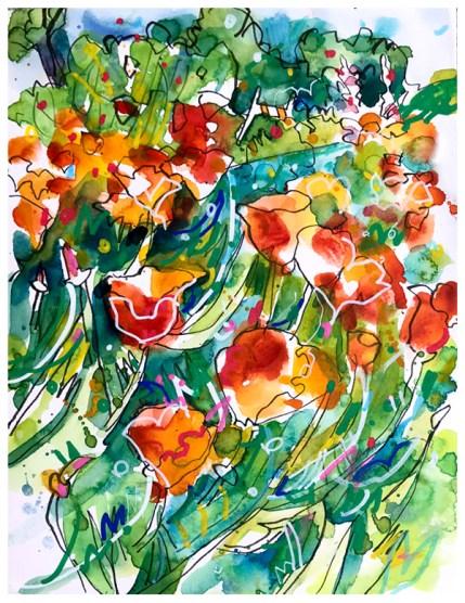 """watercolor, pen, pastel pencil, acrylic pen on paper   10"""" x 7""""   NFS"""