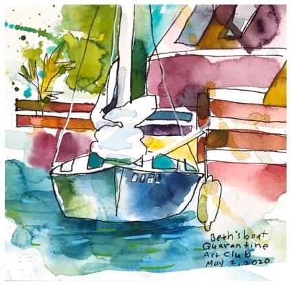 "watercolor, pen on paper   7"" x 7"""