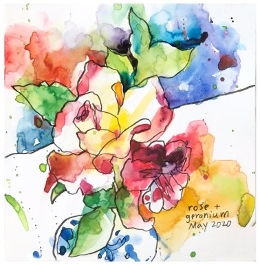 """watercolor, pen on paper   7.5"""" x 7.5""""   SOLD"""