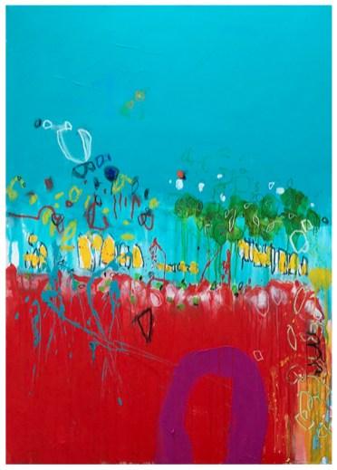 "acrylic, crayon, oil pastel, pencil on canvas   56""h x 40""w   $2900"