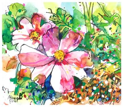 "watercolor, pen on paper   7"" x 10""   $70"