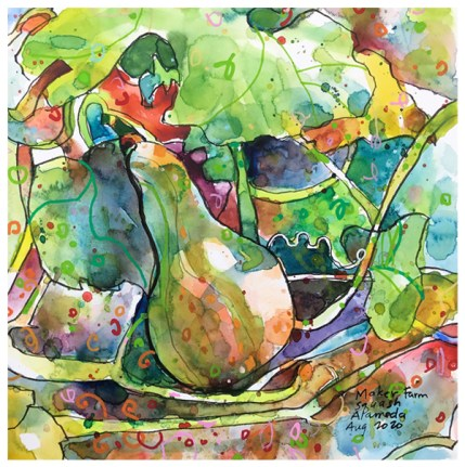 """watercolor, pen, acrylic ink on paper   10"""" x 10""""   $130"""