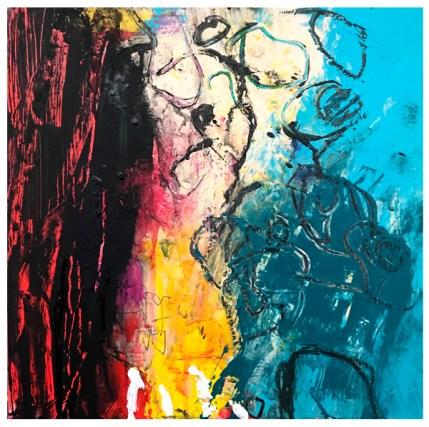 """acrylic, pencil, oil pastel crayon on claybord   12"""" x 12""""   SOLD"""