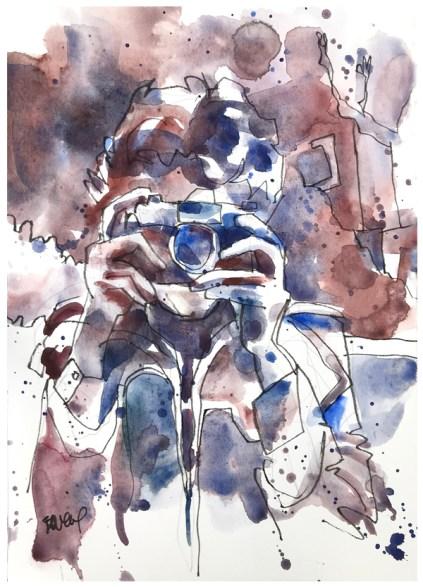 "watercolor, pen on paper | 10"" x 7"""