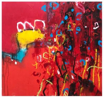 "acrylic, crayon, oil pastel, pencil on canvas | 41""h x 43""w | $2290"