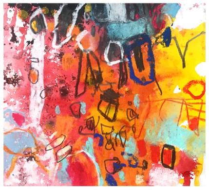 "watercolor, ink, pencil, crayon, pastel, oil pastel, acrylic on paper   6.25"" x 6.75""   $60"