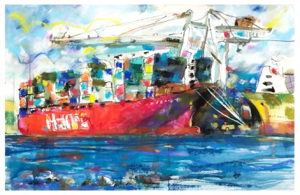 """watercolor, sticks and ink, chalk pastel, pencil on paper   20"""" x 30""""   $775"""