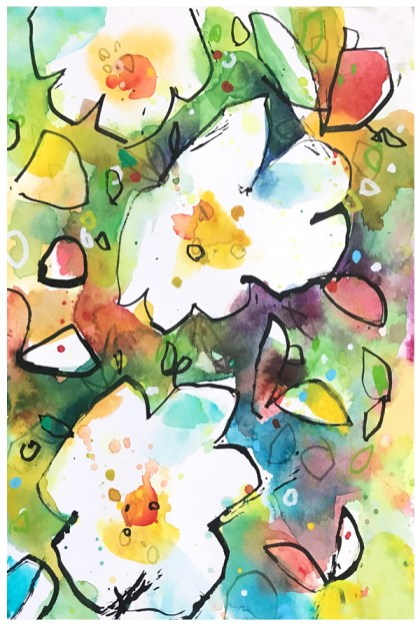 watercolor and ink painting of poppies by Emily Weil