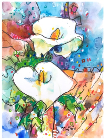 watercolor painting of calla lilies by emily weil