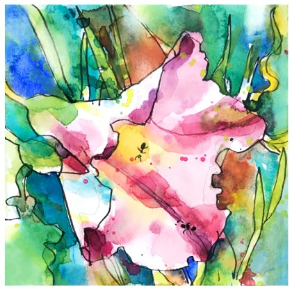 watercolor painting of wildflower by emily weil