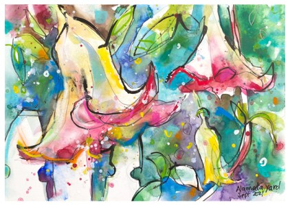watercolor painting of trumpet flowers by emily weil
