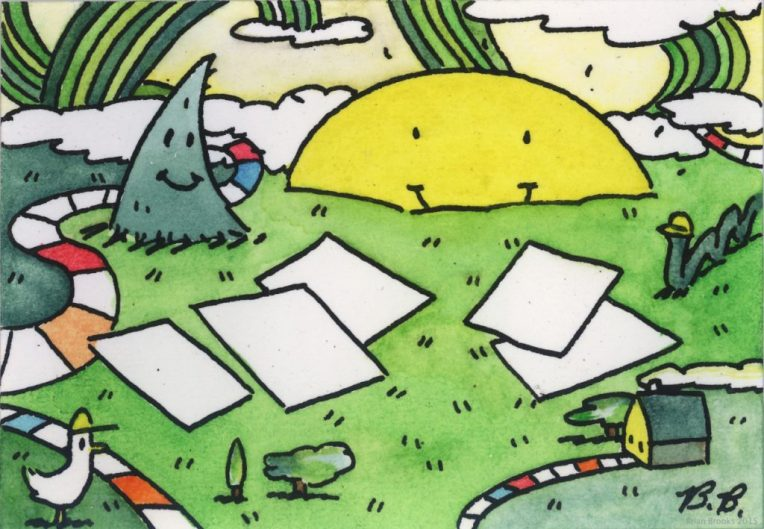 Brian Brooks, Sun With Paperwork In Park, Watercolor on paper, 3 x 4.5 inches
