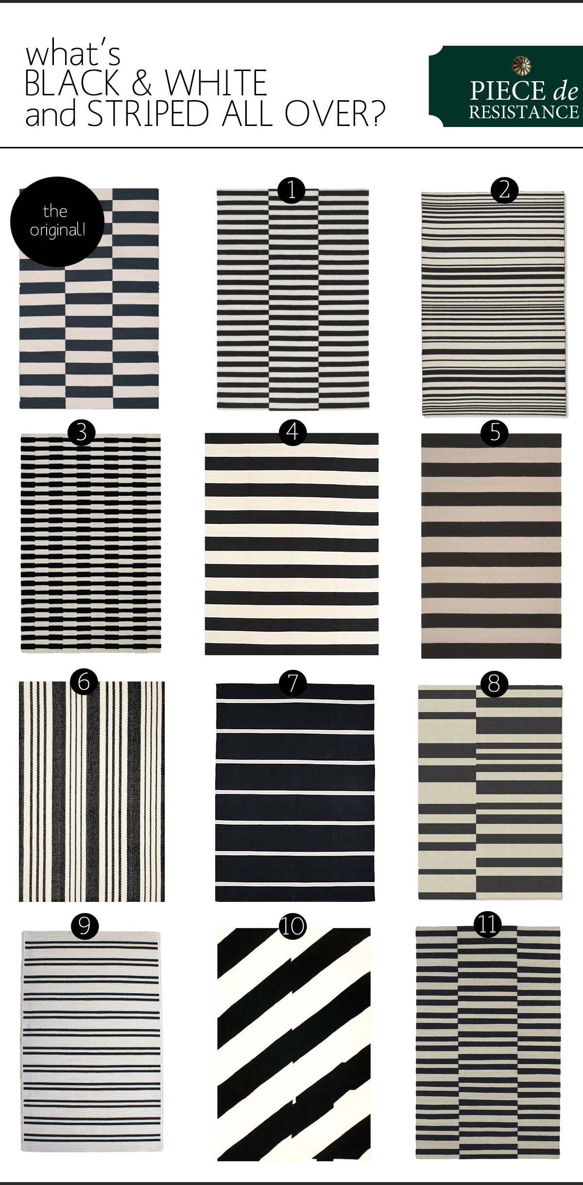Black & White Striped Rugs