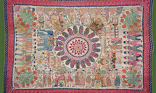 19th century kantha embroidery on a bedspread known as Sujani Kantha