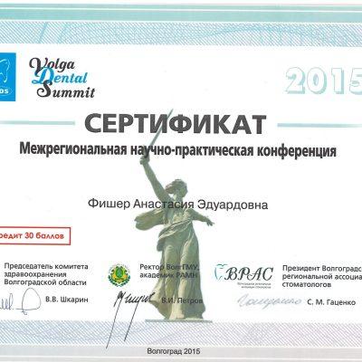 Сертификат, межрегиональная научно-практическая конференция, 2015