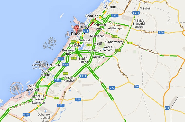 UAE road traffic live on Google MapGoogle Maps UAE live traffic – Abu Dhabi Dubai Map