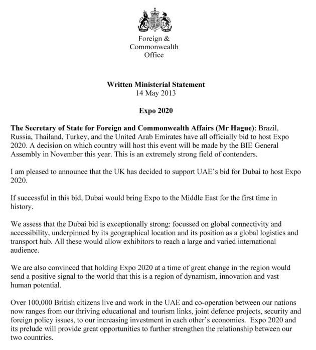 dubai expo 2020-uk support letter