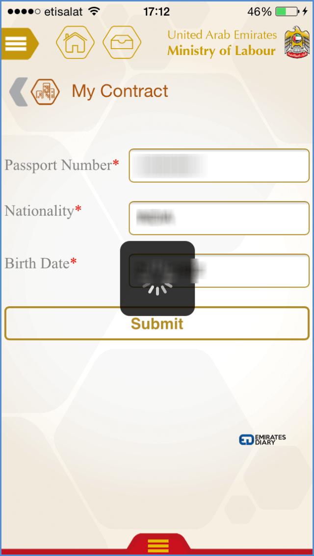 05 labour contract details through mol smartphone app