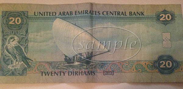 UAE 20 dirham note back