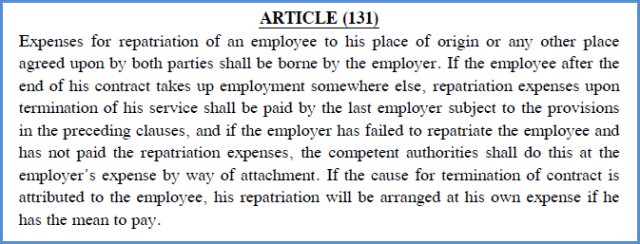 repatriation in uae labour law