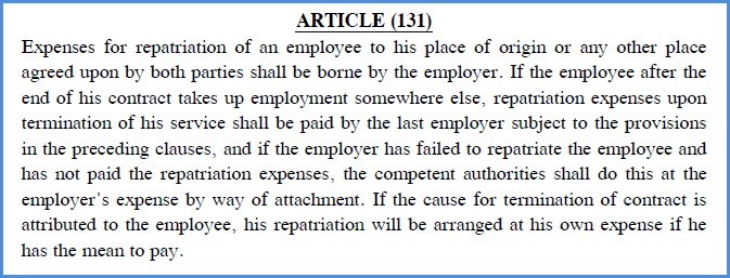 repatriation in uae labour law