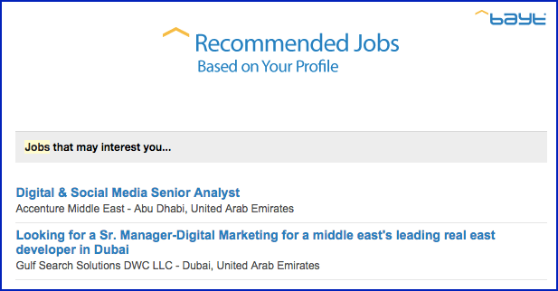 bayt-profile-recommended jobs email
