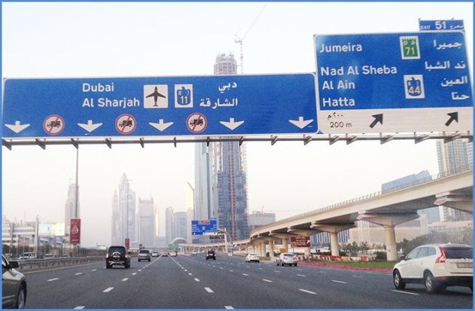 road signs dubai
