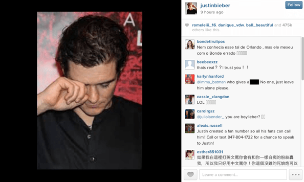 Justin Bieber posts an image on Instagram of what looks like Orlando Bloom crying