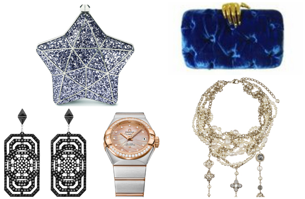 Clockwise: Earrings Dhs340 Swarovski, Clutch Dhs4,700 Aspinal of London, Clutch Dhs4,060 Bendetta at Valleydez,  Necklace Dhs24,490 Chanel, Watch Dhs29,700 Omega
