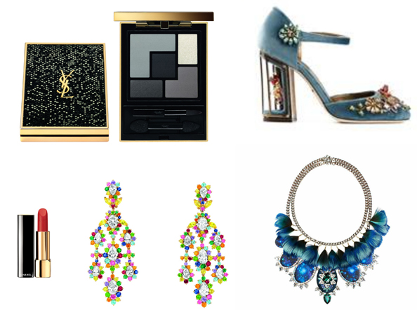 Clockwise: Chandelier earrings starting from Dhs1,000,000 Cher Dior, Rouge Allure Lipstick Dhs175 Chanel, Palette Rock Dhs287  Yves Saint Laurent, Cage heels Dhs7,990 Dolce & Gabbana at matchesfashion.com, Necklace Dhs3,200  Bijoux De Famille at Valleydez