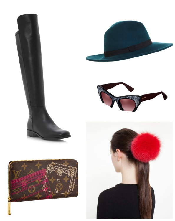 Clockwise: Wallet Dhs3,750 Louis Vuitton;  Boots Dhs999 Dune; Hat Dhs144 Miss Selfridge;  Sunglasses Dhs1,640 Miu Miu; Fur scrunchie Dhs600 Tu Es Mon Tresor at brownsfashion.com
