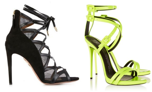 Left to right: Shoes Dhs2,439 Aquazzura;  Shoes Dhs3,581 Giuseppe Zanotti