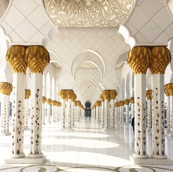 """Gigi Hadid captured this beautiful shot of the Sheikh Zayed Mosque which she called """"unreal""""."""