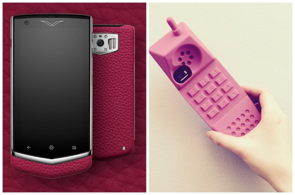 Left to right: Constellation phone Dhs24,000 Vertu; iPhone case Dhs259 Moschino at brownsfashion.com