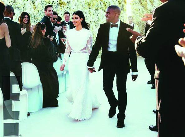 Kim Kardashian on her wedding day with husband Kanye West