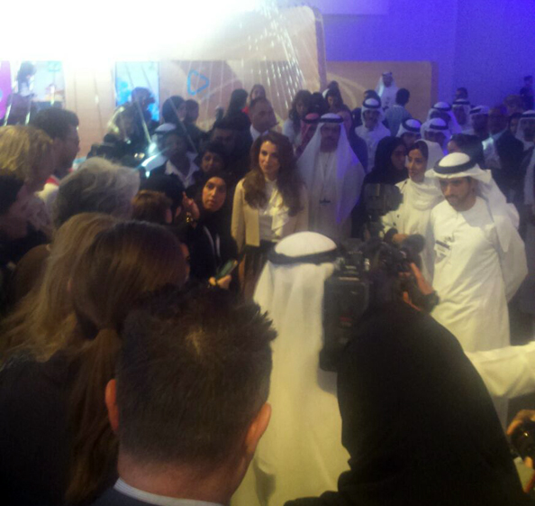 Queen Rania at the Global Women's Forum Dubai With Sheikh Hamdan