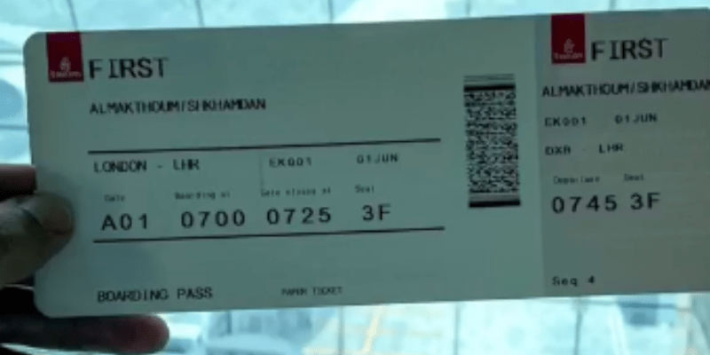 Sheikh Hamdan Emirates Ticket