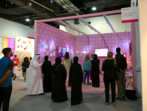 Visitors come to the Power of Pink installation