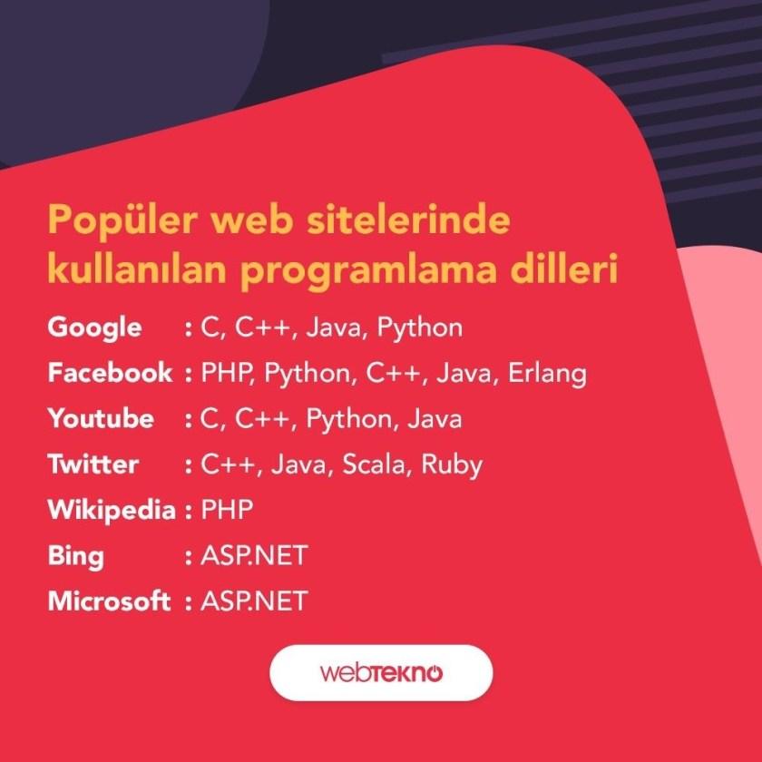 Popüler Web Sitelerinde Kullanılan Programlama Dilleri