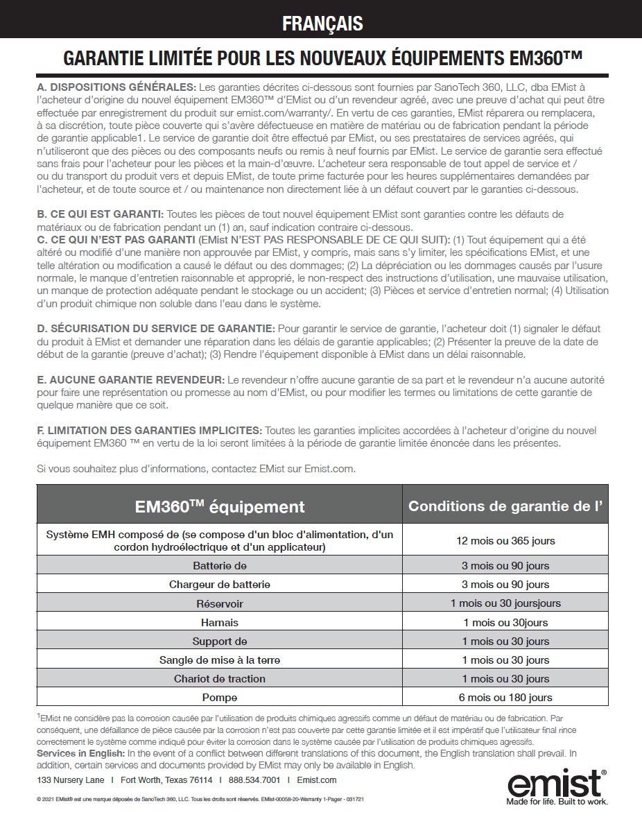 EM360 - Warranty - French