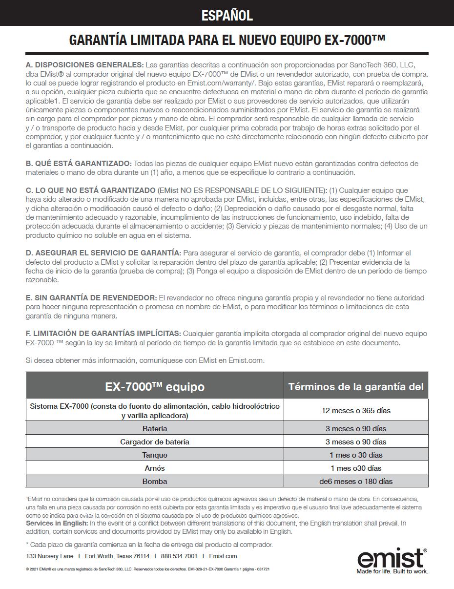 EX-7000 - Warranty - Spanish