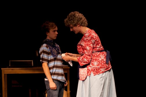 Bertha (Nathaniel Rothrock) tells Jody Bumiller (Nicholas Hemerling) he can't have another puppy