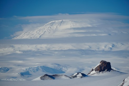 Mount Erebus with Castle Rock in the foreground