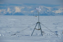 Weather station sensors on a dead-man anchored tripod.