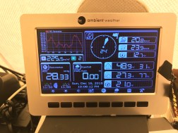 The weather station's screen remotely logged the weather data using a bluetooth connection to the sensor tripod outside. It also had a wireless connection to a portable thermometer we used to record temperatures inside our sleeping tents.
